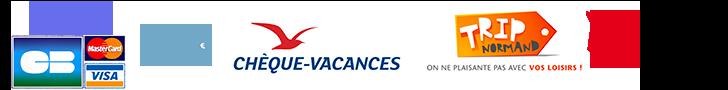 moyens de paiement acceptés dans notre ferme pédagogique entre Caen et Lisieux : carte bleue, espèce, chèques vacances et chèques ANCV